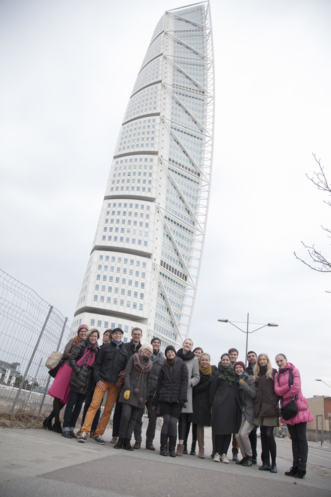 The BalticLab group outside of our working space, Turning Torso.