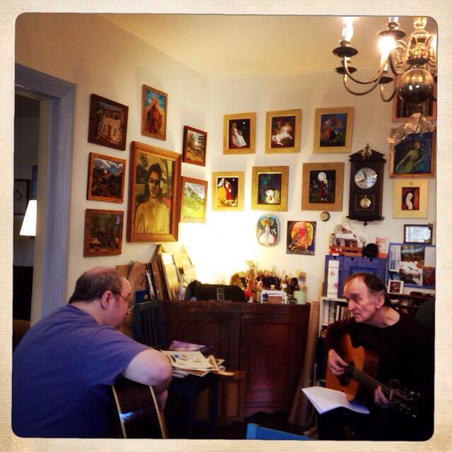 With Martin Carthy running over the chords to a song he and his daughter Eliza were recording with me at my home studio.