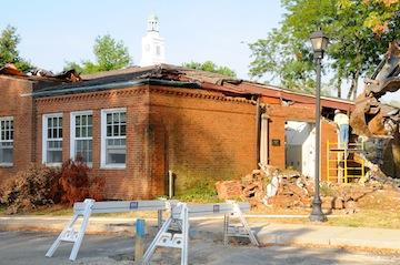 Demolition work at Mathews Hall