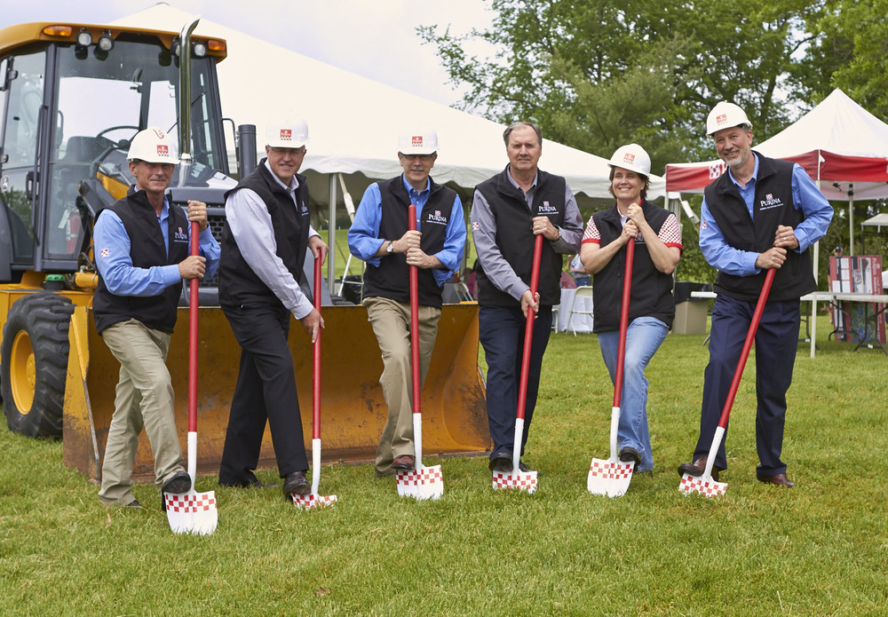 Employees from Purina Animal Nutrition break ground on new construction at the Purina Animal Nutrition Center in Gray Summit, MO
