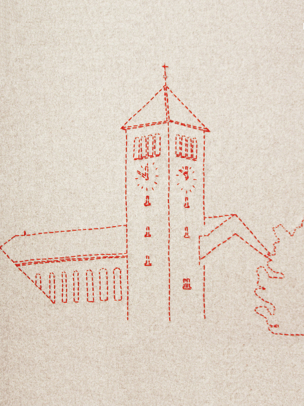 Detail aus dem bestickten Deckensegel, welches die Kirche in Rotkreuz zeigt  Detail from the embroidered ceiling banner, which shows the church in Rotkreuz