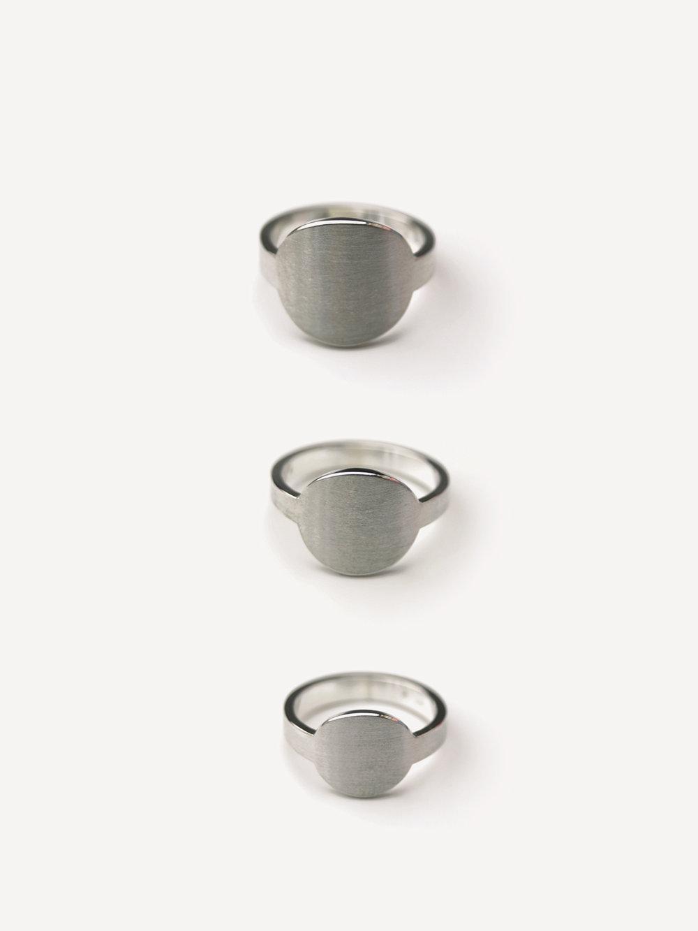 Übersicht Siegelringe in rund in 925 Silber/ Summary ring round in sterling silver