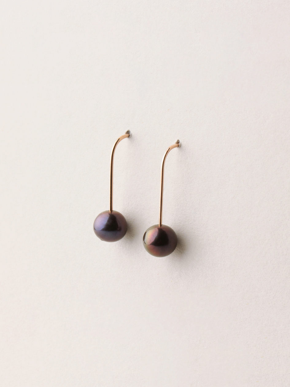Perlen Ohrhänger, lang in 585 Rosegold und echten Süßwasserzuchtperlen/ Pearl earrings, long in 14kt Rosegold and sweetwater pearls