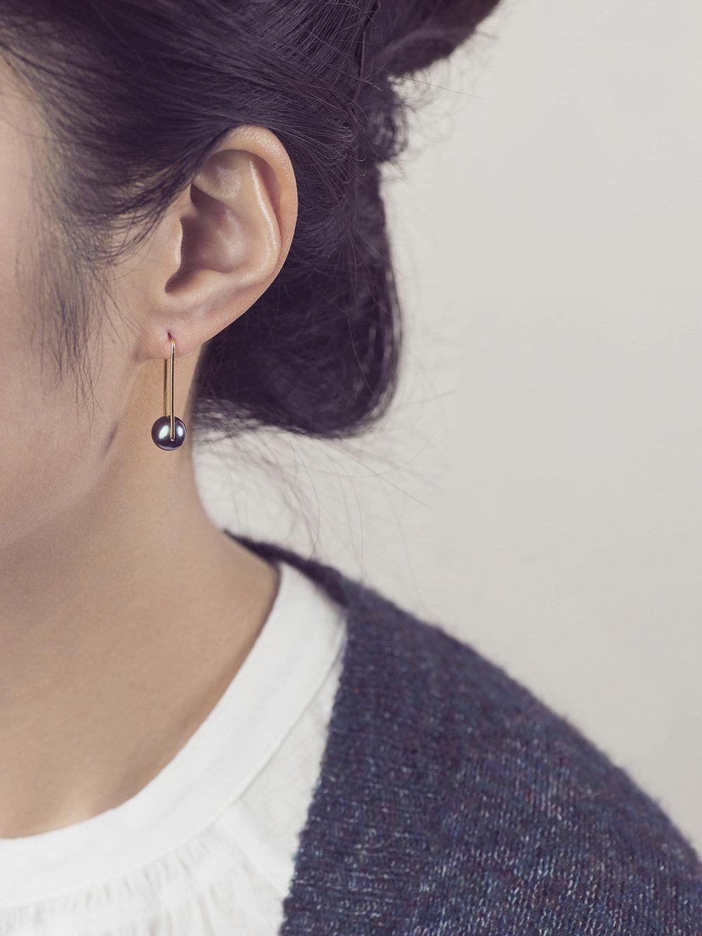 Perlen Ohrhänger, lang in 585 Gold und echten Süßwasserzuchtperlen/ Pearl earrings, long in 14kt gold and sweetwater pearls