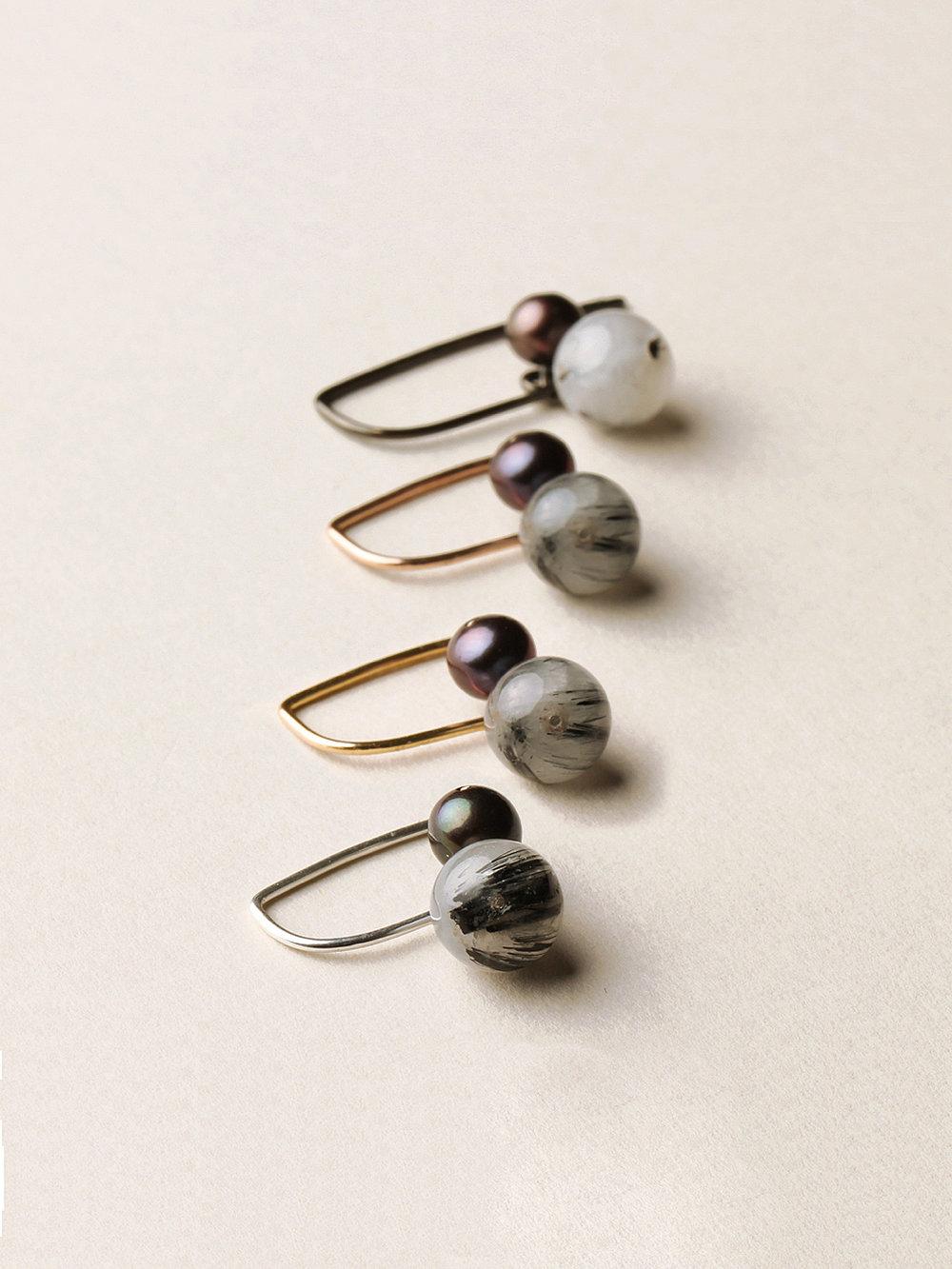 Perlen Ohrhänger, kurz in 4 Silber/ Rosegold/ Gelbgold/ schwarzrutheniertem Silber, echten Süßwasserzuchtperlen und Rutilquarzperlen