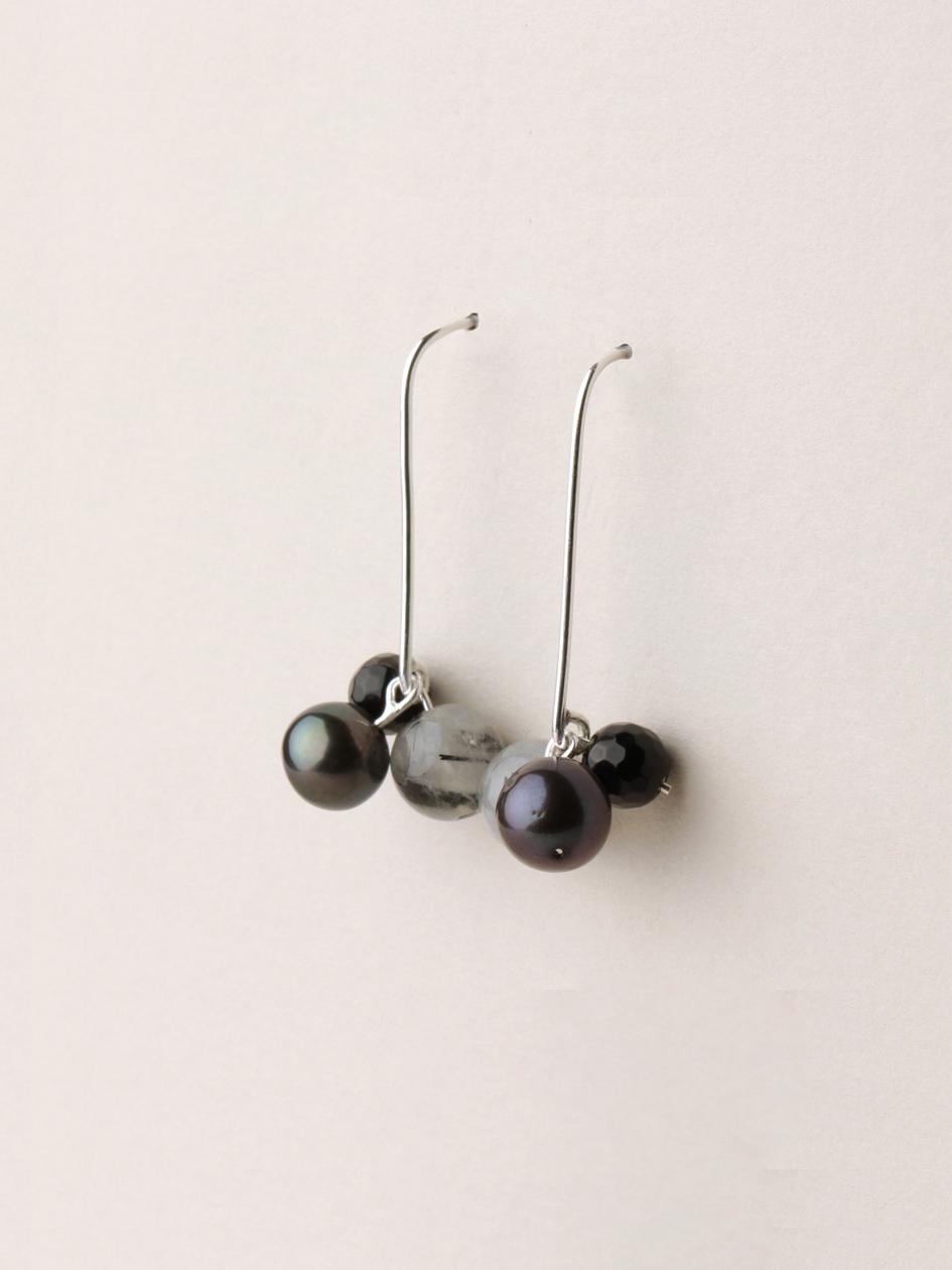Perlen Ohrhänger, lang in Silber, echten Süßwasserzuchtperlen, Rutilquarzperlen und Onyxperlen