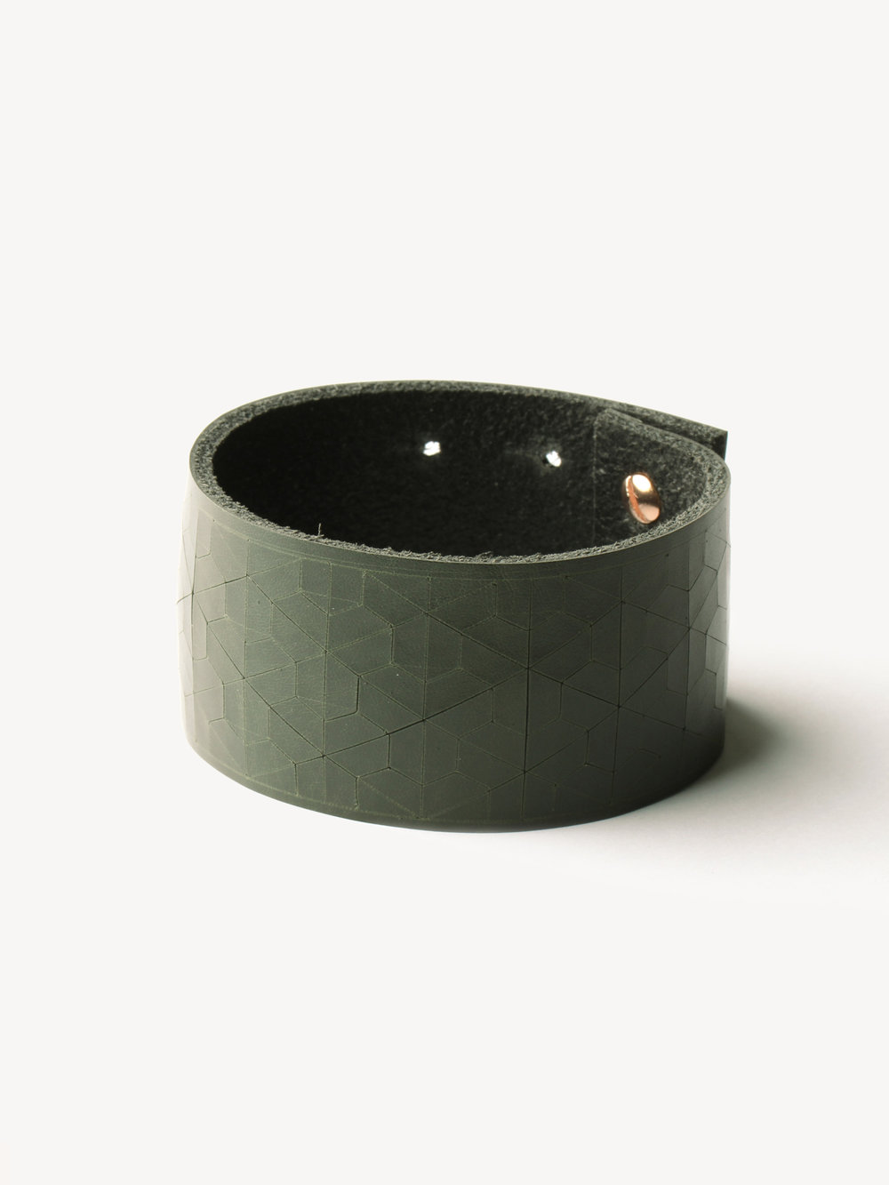 Leder-Armband, schmal in dunkelgrün/ Leather bracelet, big in dark green