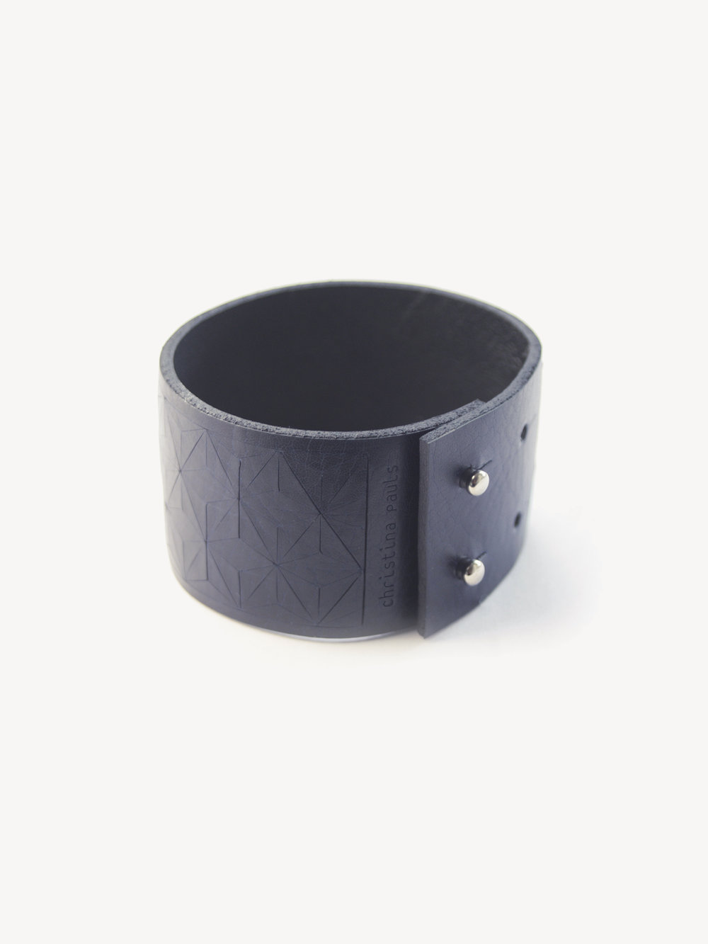 Leder-Armband, schmal in dunkelblau/ Leather bracelet, small in navy