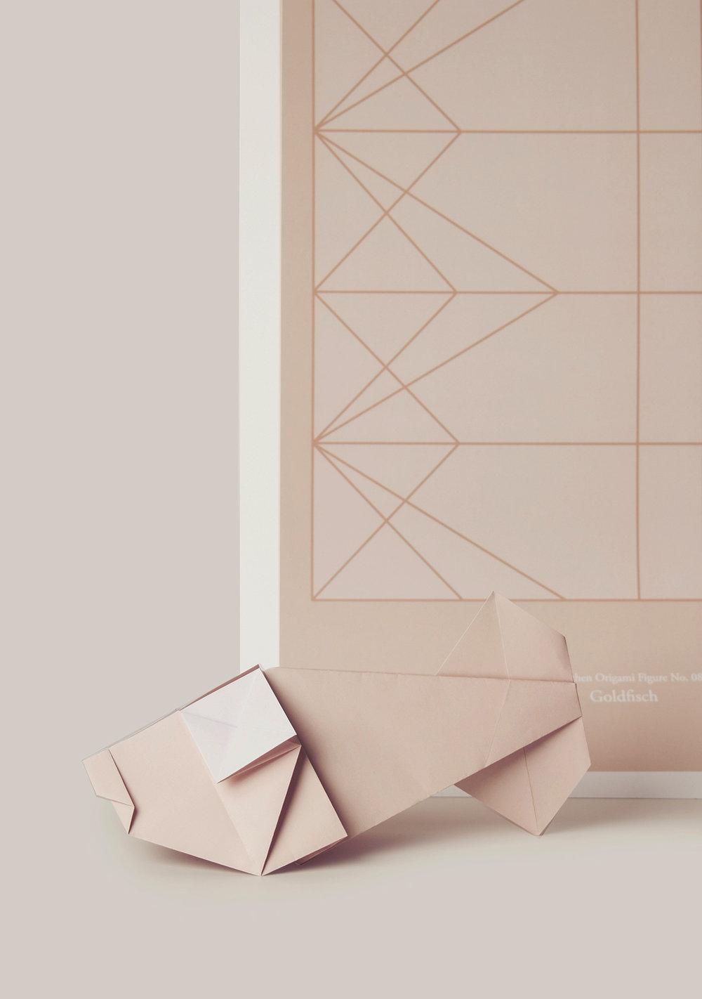 Origami Figur Goldfisch mit passendem Print  Origami figure Goldfish with adequate print