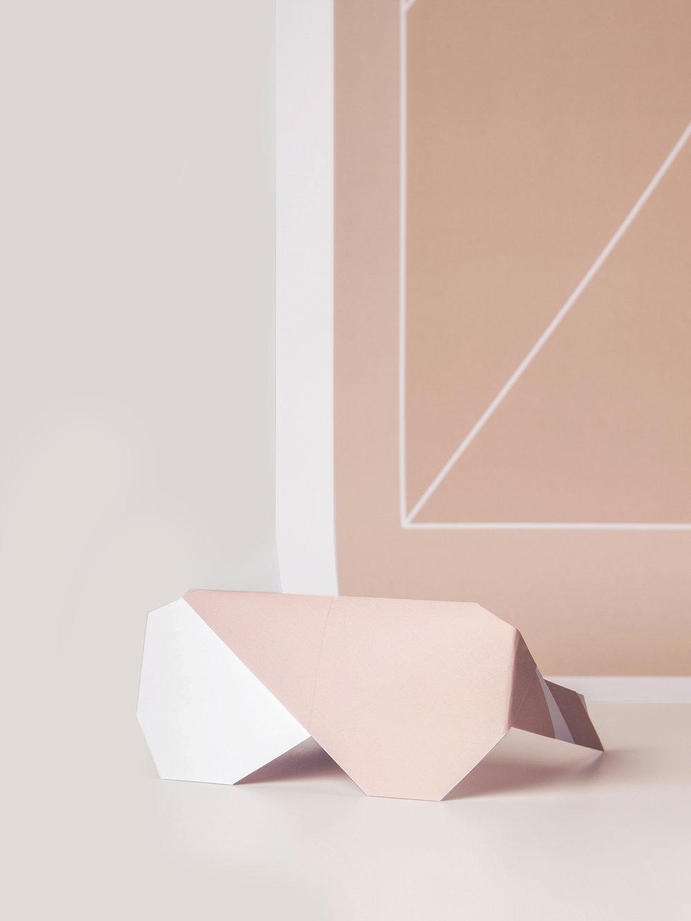 Origami Figur Sonnenbrille Diva mit passendem Print  Origami figure Sunglasses Diva with adequate print