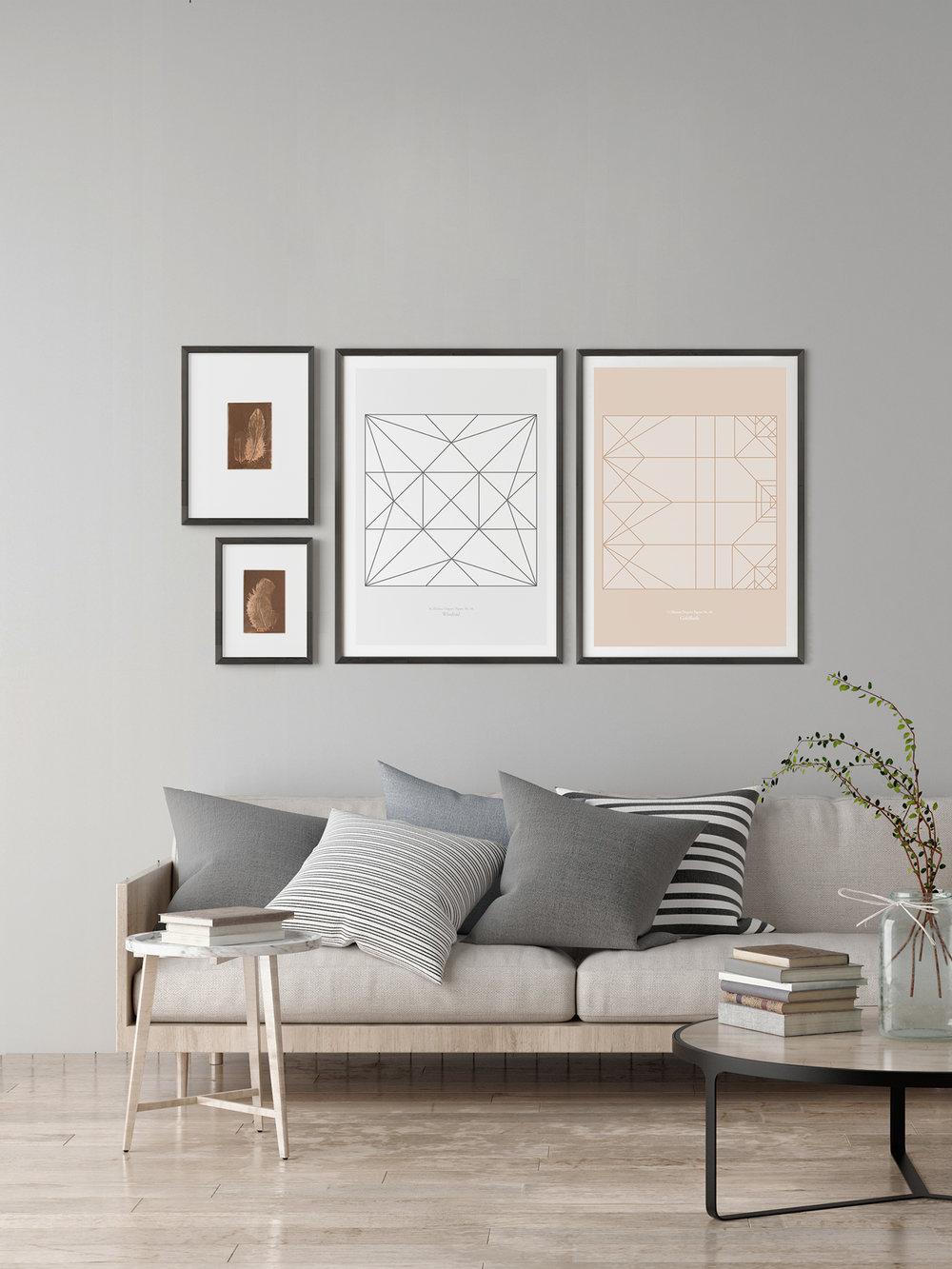 Origami Print Windrad, Goldfisch und Federbild 30x40 und 21x30cm  Origami Print Pinwheel, Goldfish and Feather picture 30x40 und 21x30cm