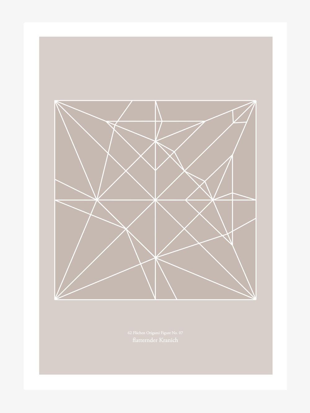 Origami Print Kranich  Origami print Crane