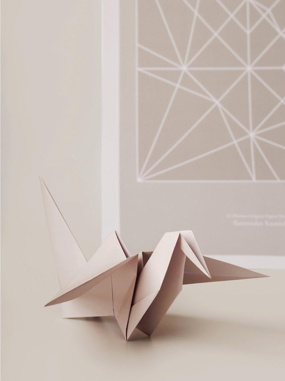 Origami Figur Kranich mit passendem Print  Origami figure Crane with adequate print