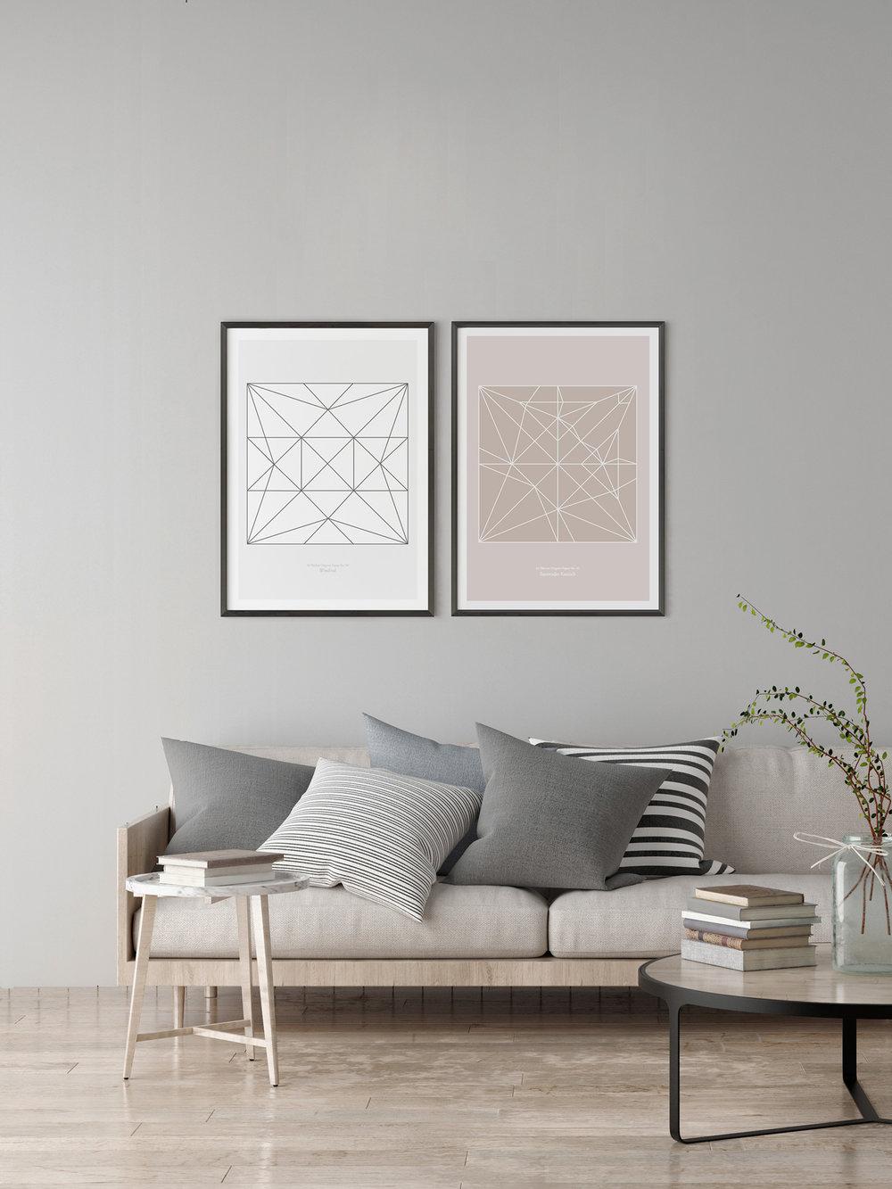 Origami Poster Windrad und Kranich  Origami print Pinwheel and Crane