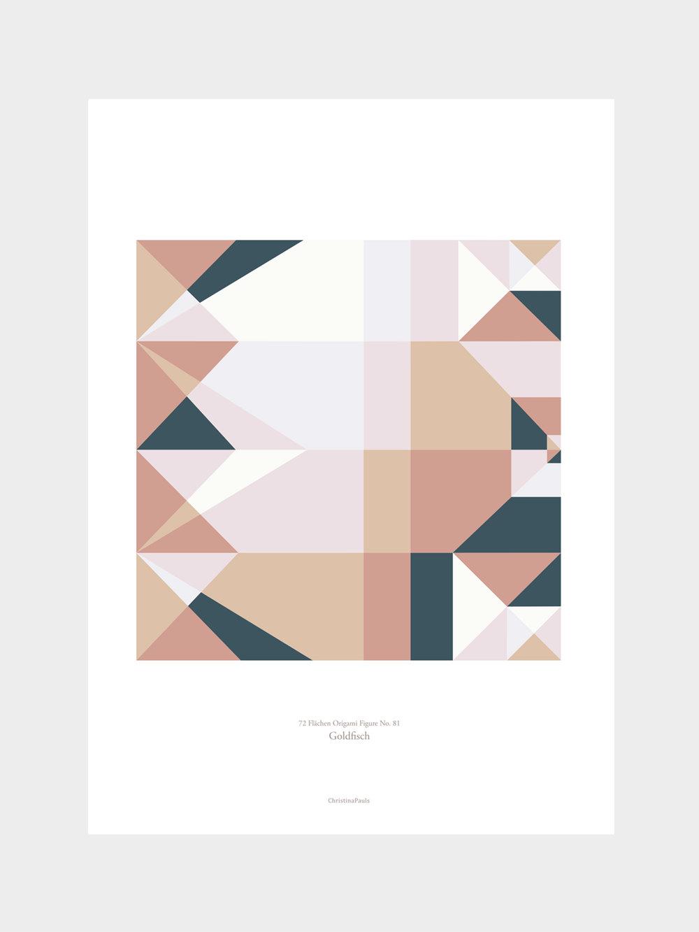 Origami Print Goldfisch, mehrfarbig  Origami print Goldfish, multicolored