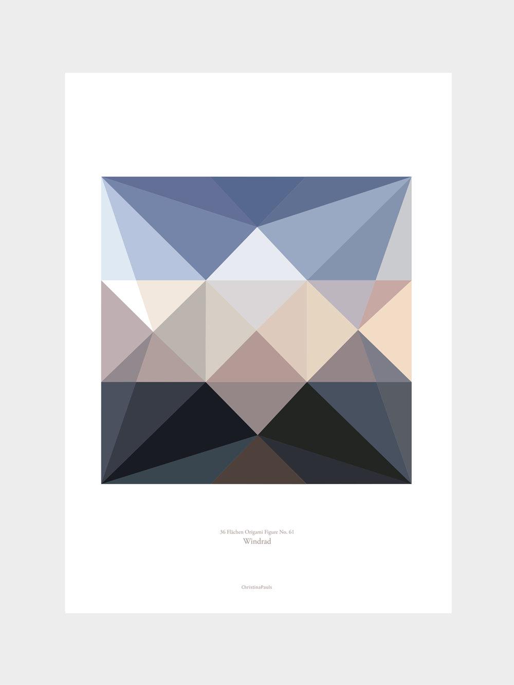 Origami Print Windrad, mehrfarbig  Origami print Pinwheel, multicolored