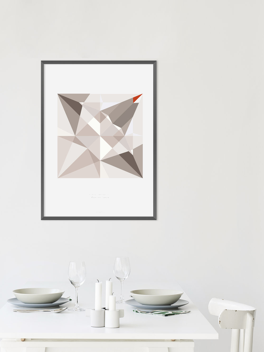 Origami Print Kranich, mehrfarbig  Origami print Crane, multicolored