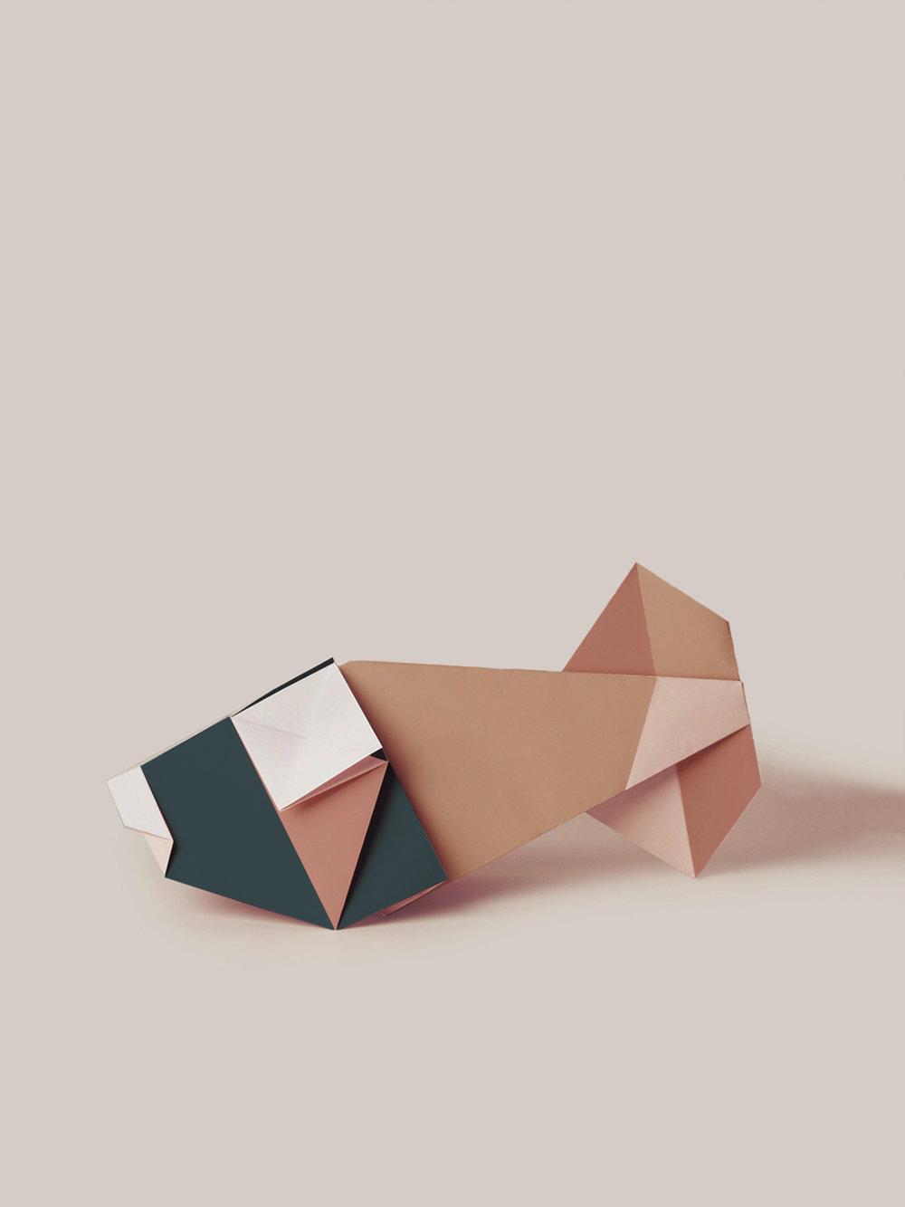 Origami Figur Goldfisch, mehrfarbig  Origami figure Goldfish, multicolored