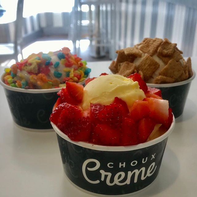 Ice cream or sorbet ?! Toppings, waffle or both !? Come customize your ice cream and enjoy what your heart ❤️ desires! . #icecream #dessert #sorbet #topping #yummyinmytummy #tuesday #chouxcreme #chouxcremefullerton