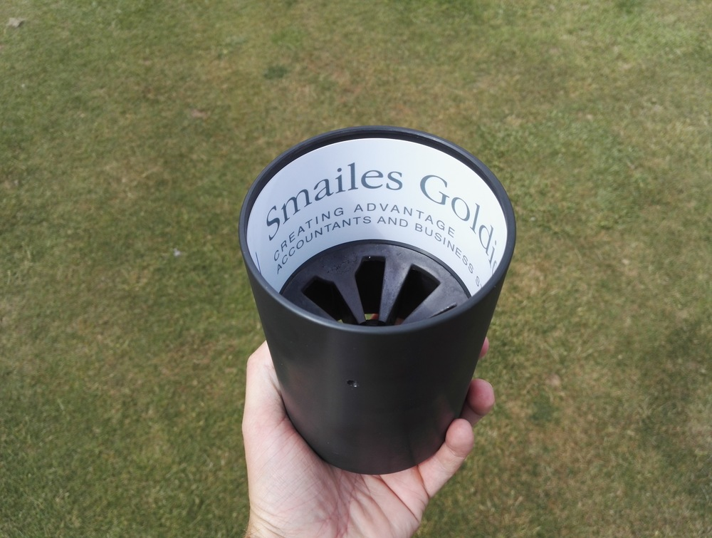 New hole-cups sponsored by Smailes Goldie Group