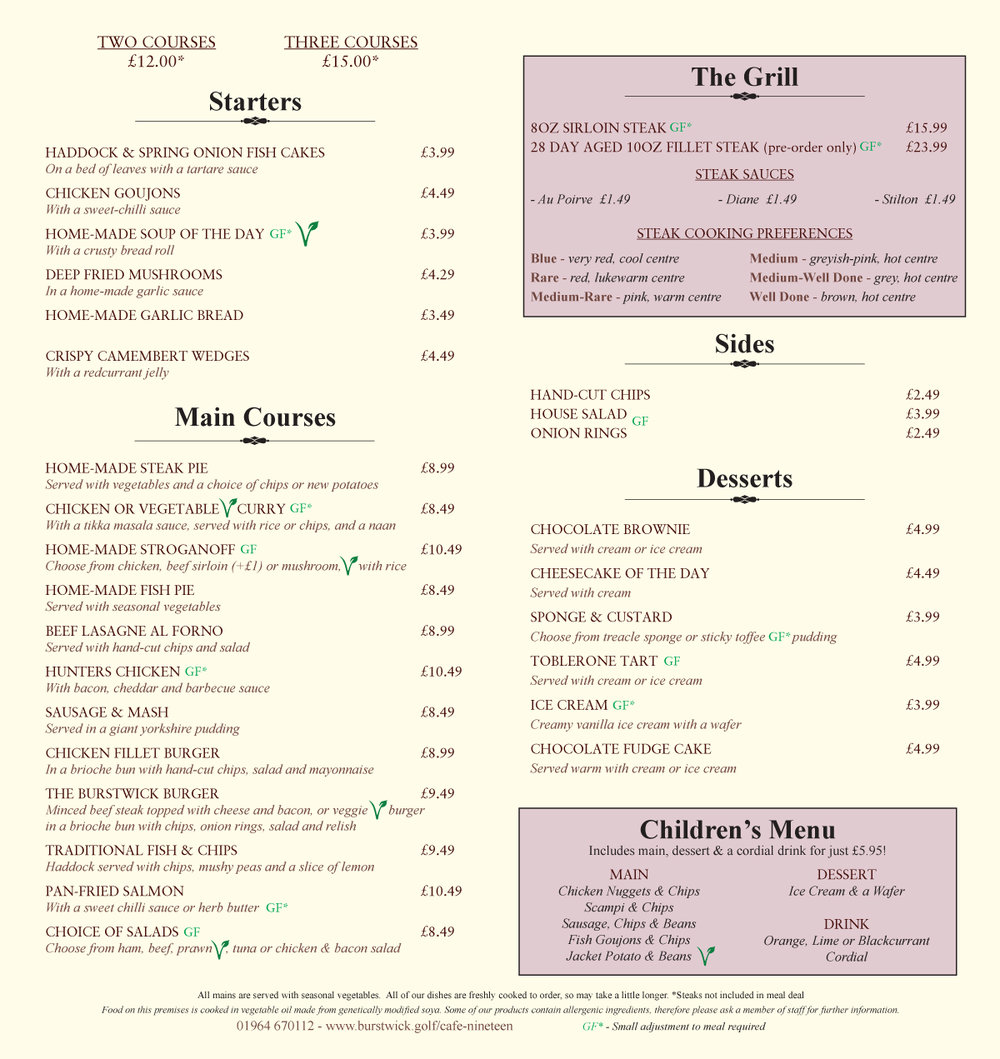 Evening menu at Cafe Nineteen, just 10 minutes from Hull