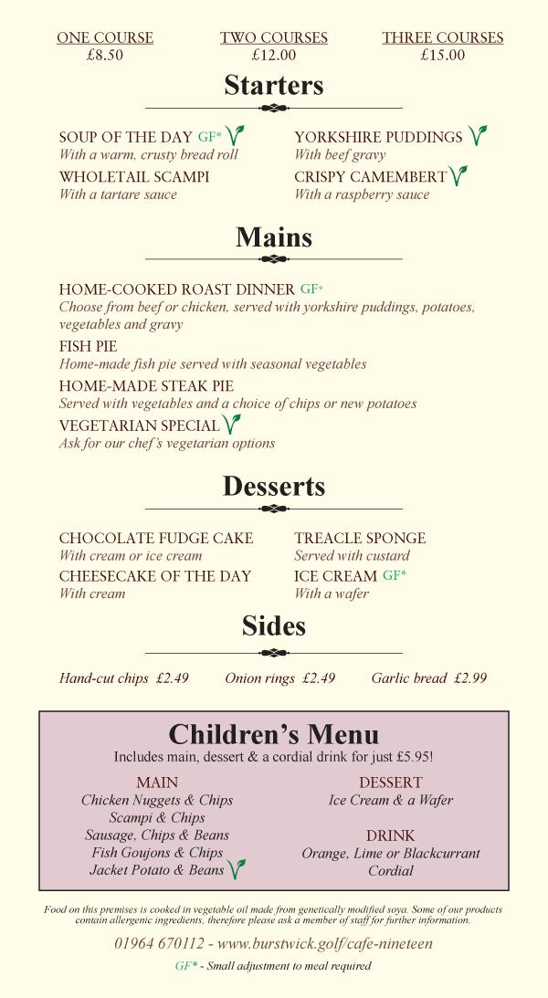 Sunday menu at Cafe Nineteen, near Hull