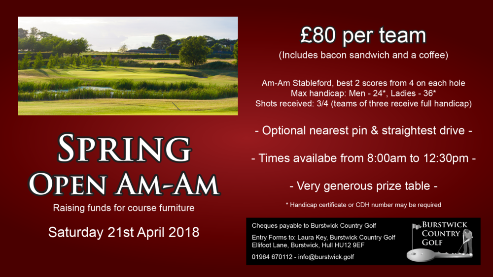 Spring Open Am-Am raising funds for course furniture