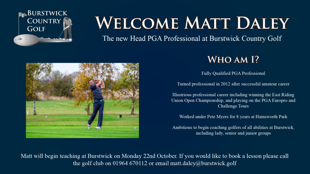 Matt Daley Head PGA Professional at Burstwick