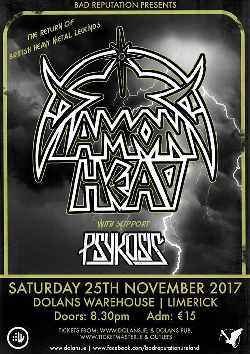 Diamond Head November 25th in Kasbah Social Club Limerick