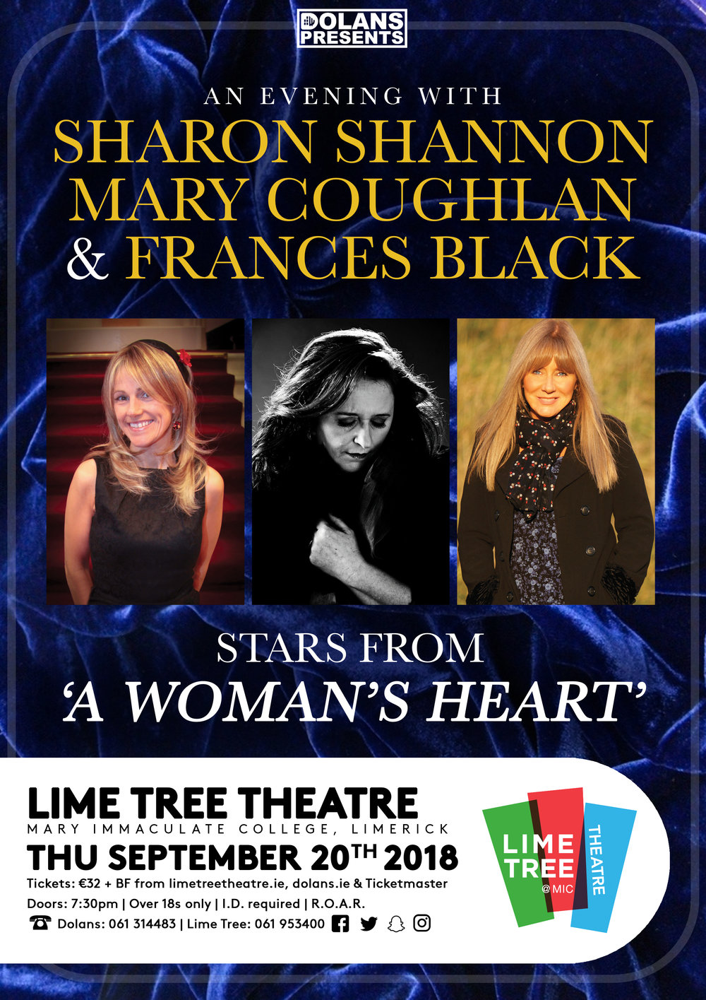 Sharon Shannon, Mary Coughlan & Francis Black live in the lime Tree Theatre Limerick October 20th