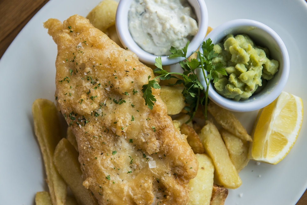 Dolans Fish and Chips with Tartare Sauce and Mushy peas -