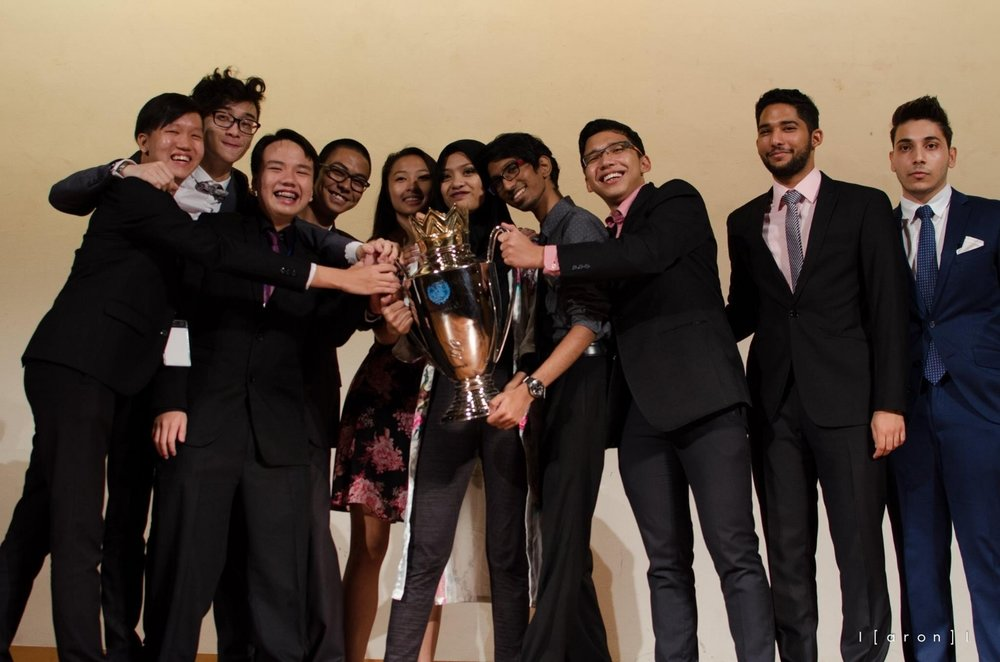 Team Assorted presented with the Champions Cup during the NUMUN Champions Cup 2016 held from 26th until 28th February 2016. [Photo credit: Aron Raj]