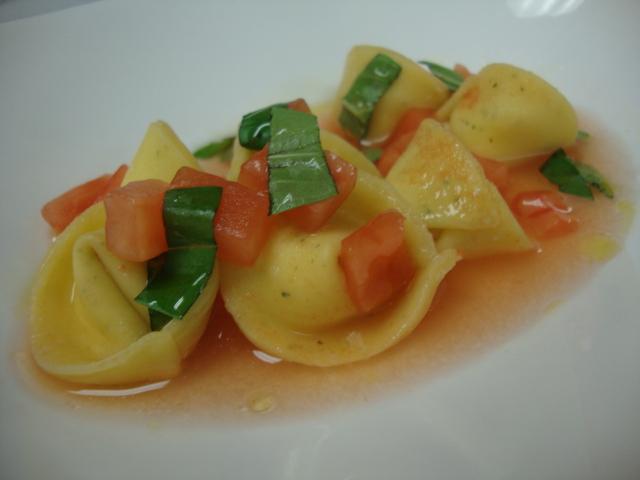 Ricotta Tortellini, tomato consomme
