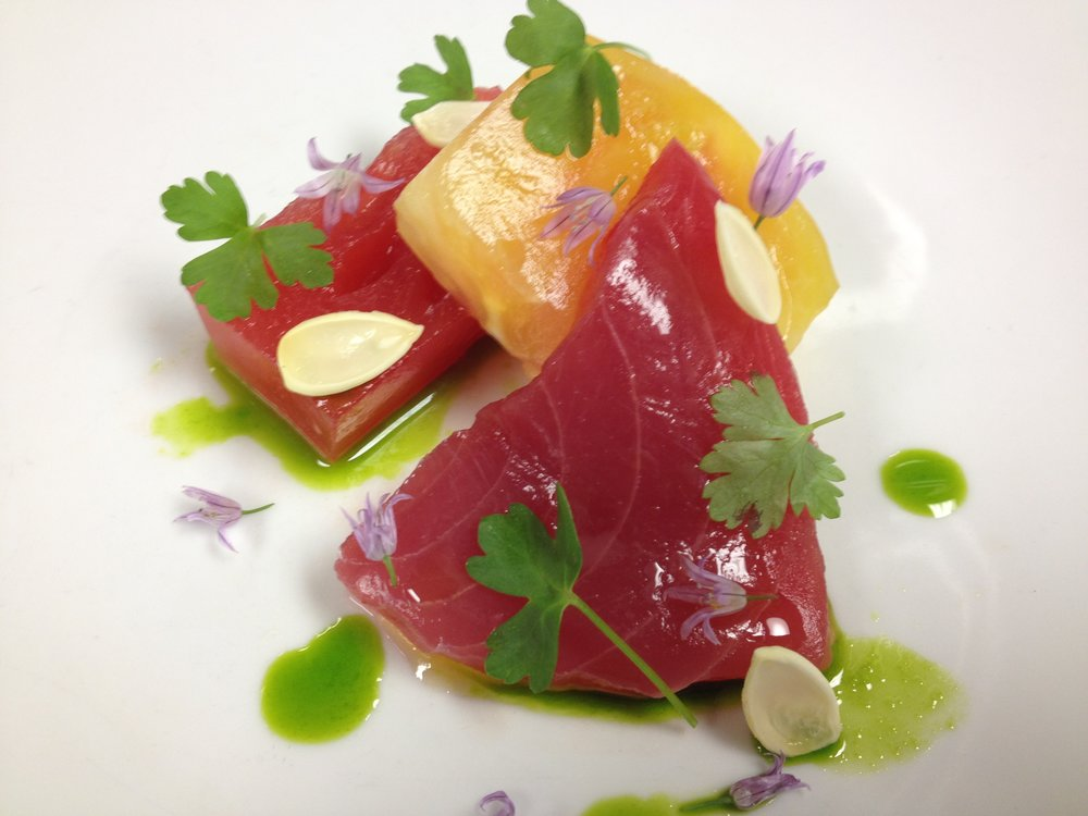 Tuna carpaccio, yellow tomato, watermelon, young almonds