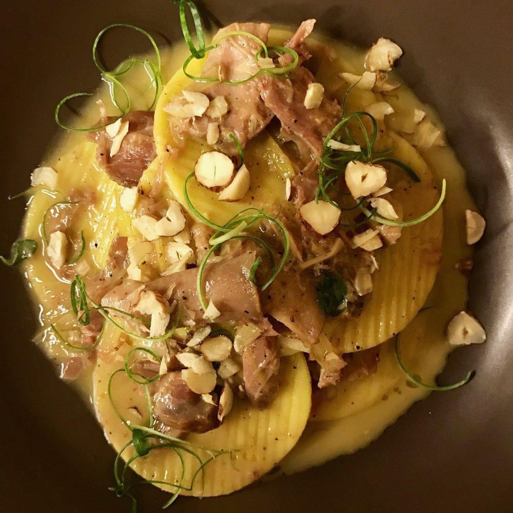 Corzetti pasta, confit rabbit, leeks, hazelnuts, delicious traditional