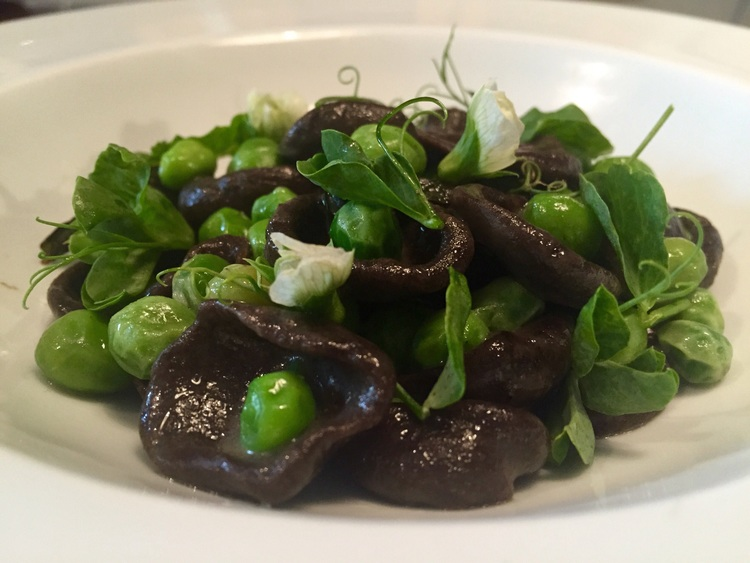 burnt pasta, garden peas, ricotta