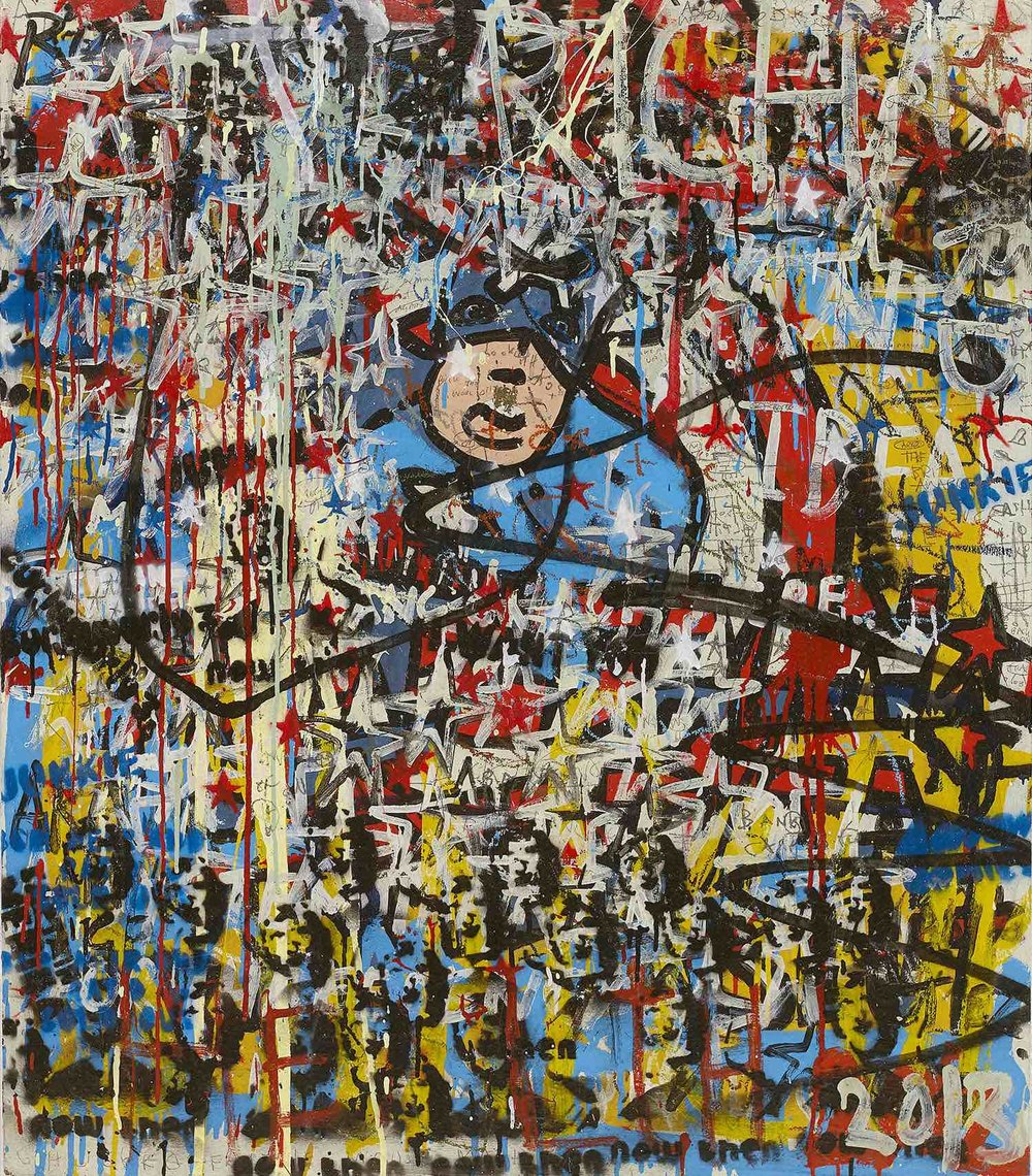 Howells | Mr America | acrylic, oil, pastel & pencil on wood | 115 x 98 cm