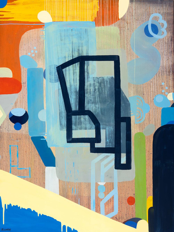 The Last Blue Dot on Earth I oil on canvas painting I Martin Finnin Abstract Art London