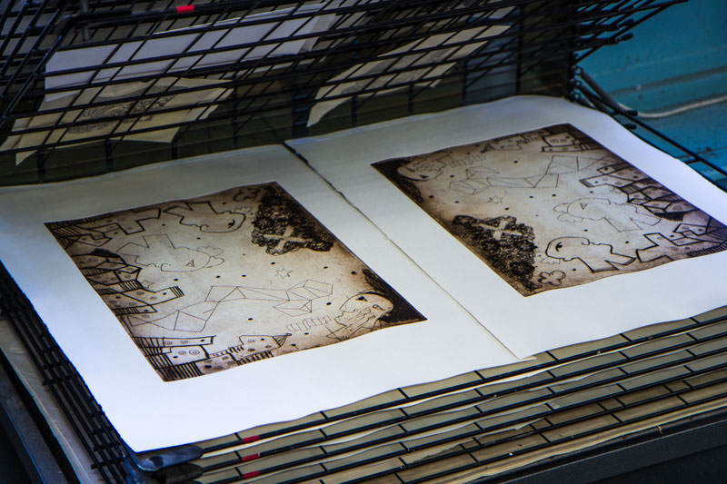 Martin Finnin working on a series of etchings I The Prints of Darkness