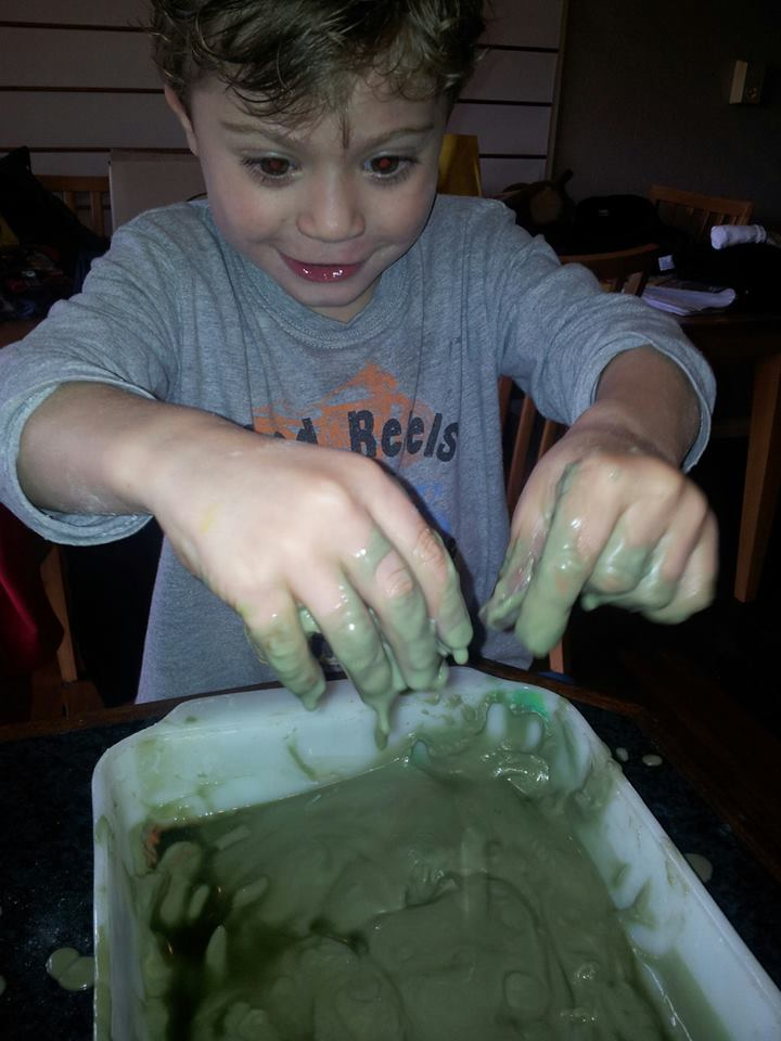 "Nothing better than getting a bit messy!!  Sensory overload!!  His hands were a little green afterwards, but that was ok because he looked ""just like the Incredible Hulk""! :)"