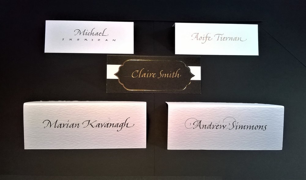 Italic variations. Place cards can be lettered in gold or silver ink, or almost any colour.