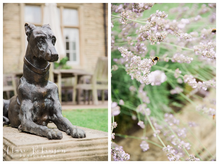 Dog garden statue and lavender in the gardens of Woodlands Hotel Leeds