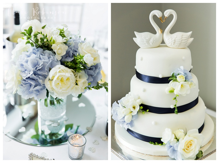 floral centerpiece and three tier cake