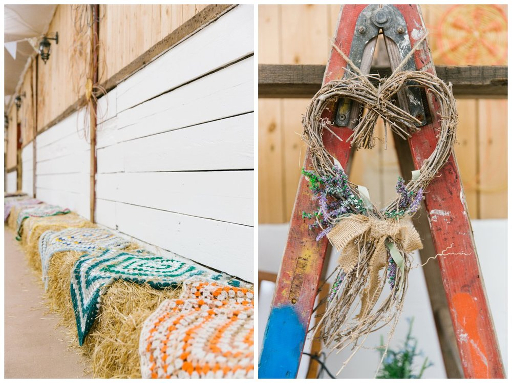 hay bales with crochet rugs on top. twig shaped love heart with lavender and a hessian bow hung on some old wooden ladders with old paint remnants