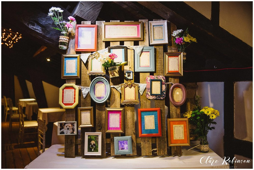 Picture frame and wooden crate seating plan at Rivington Barn - Rivington Wedding Photographer