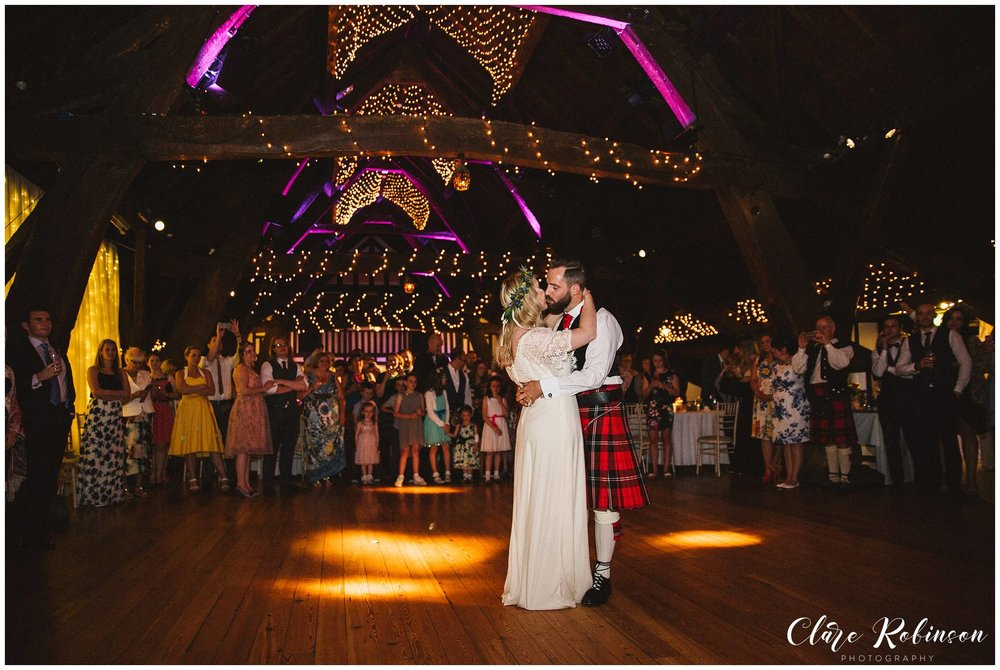 Bride and groom having their first dance at Rivington Barn - Wedding Photographer Lancashire
