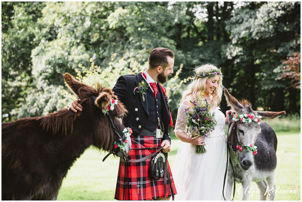 Bride and groom holding donkeys after getting married