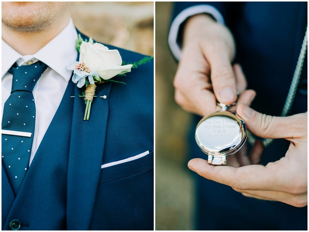 close up images of grooms white rose button hole and new inscribed pocket watch