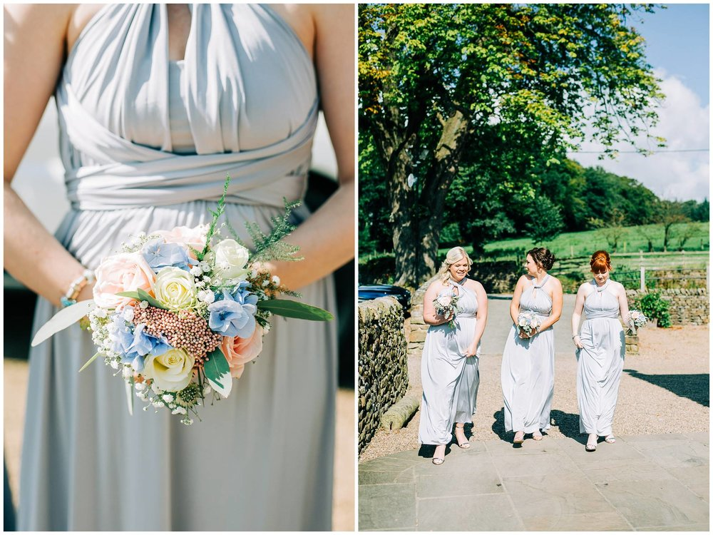 a detail shot of the bridesmaid bouquet and another image of 3 bridesmaids walking to browsholme barn