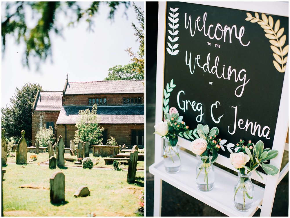 outside of a church in sunshine and a close up of a welcome sign for guests